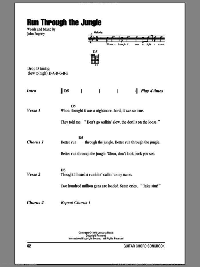 Run Through The Jungle sheet music for guitar (chords) by John Fogerty and Creedence Clearwater Revival. Score Image Preview.