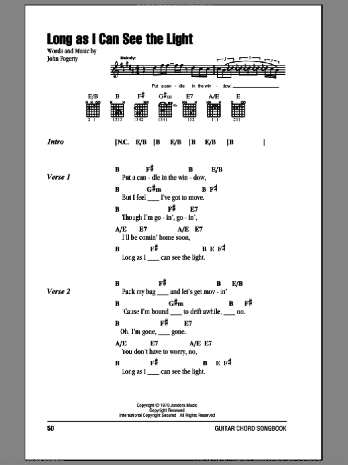 Long As I Can See The Light sheet music for guitar (chords) by Creedence Clearwater Revival and John Fogerty, intermediate guitar (chords). Score Image Preview.