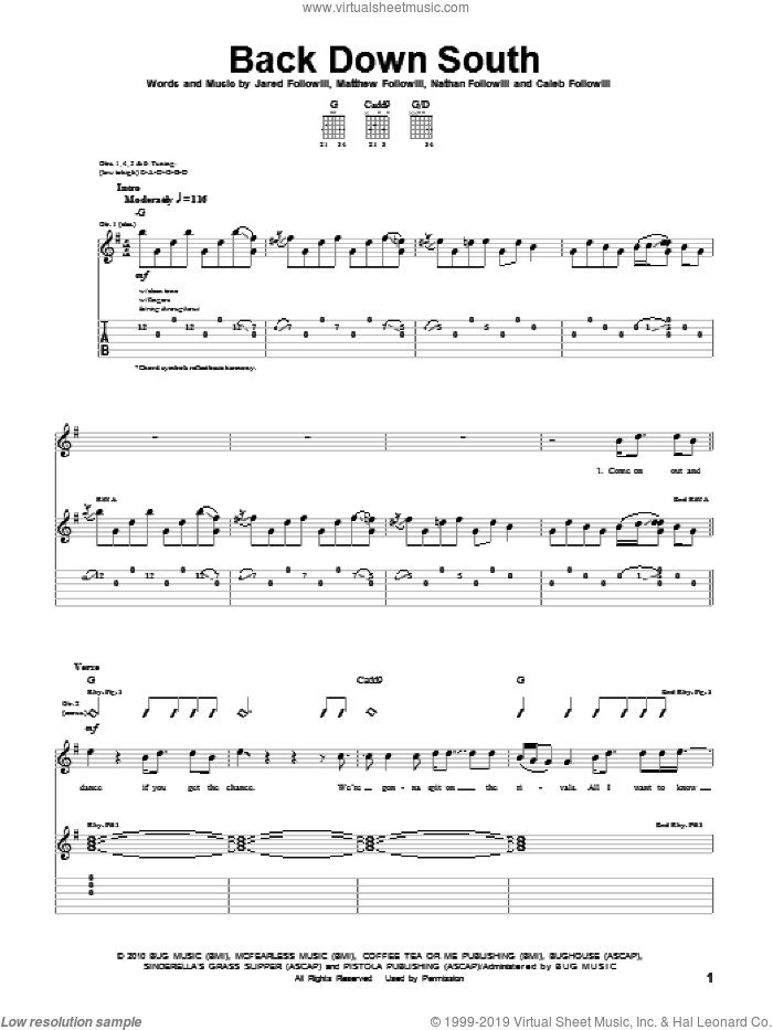 Back Down South sheet music for guitar (tablature) by Kings Of Leon, Caleb Followill, Jared Followill, Matthew Followill and Nathan Followill, intermediate