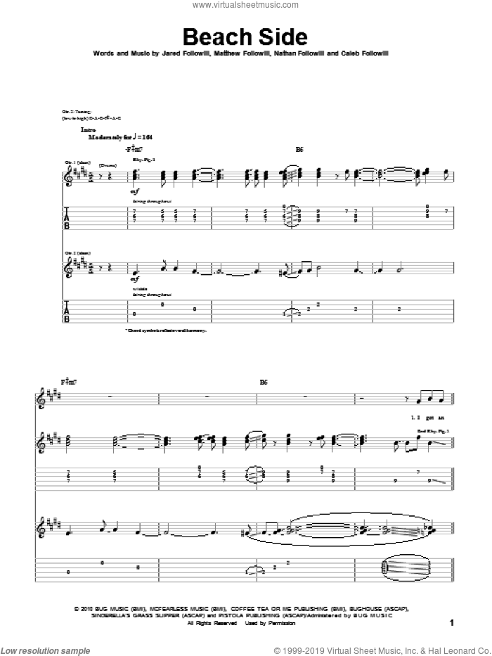 Beach Side sheet music for guitar (tablature) by Nathan Followill, Kings Of Leon, Caleb Followill and Matthew Followill. Score Image Preview.