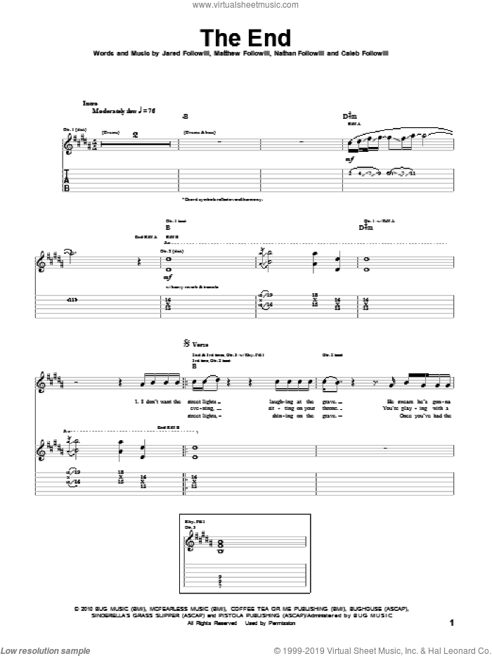 The End sheet music for guitar (tablature) by Kings Of Leon, Caleb Followill, Jared Followill, Matthew Followill and Nathan Followill, intermediate. Score Image Preview.