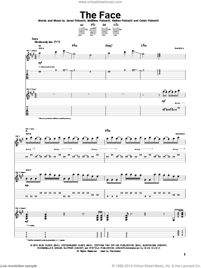 The Face sheet music for guitar (tablature) by Kings Of Leon, Caleb Followill, Jared Followill, Matthew Followill and Nathan Followill, intermediate. Score Image Preview.