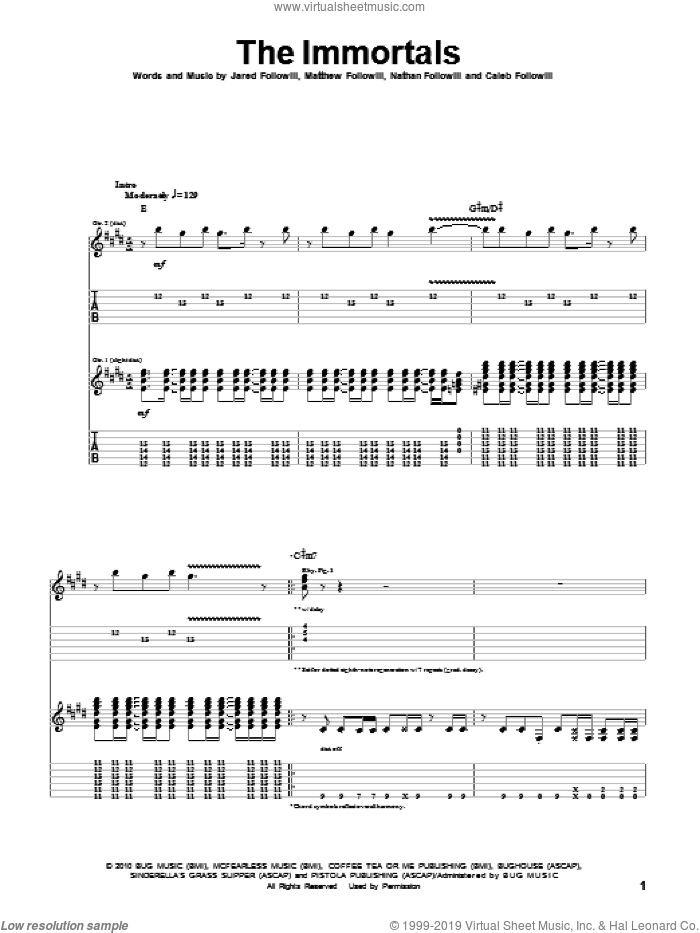 The Immortals sheet music for guitar (tablature) by Kings Of Leon. Score Image Preview.