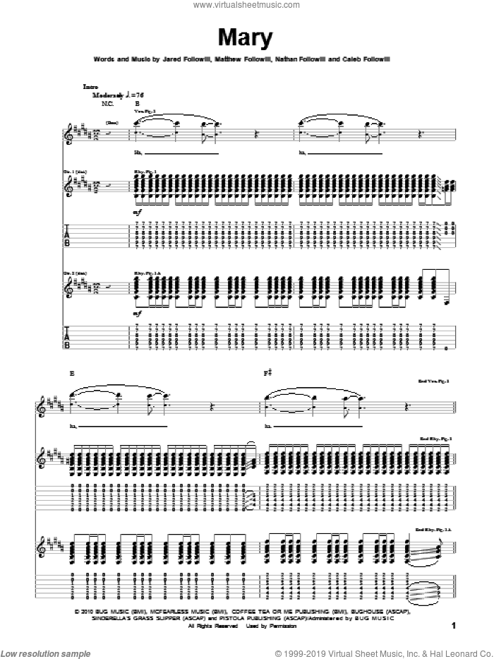 Mary sheet music for guitar (tablature) by Kings Of Leon. Score Image Preview.
