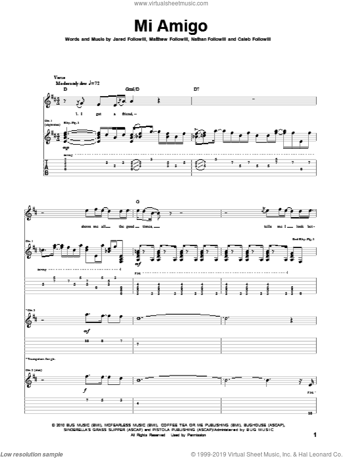 Mi Amigo sheet music for guitar (tablature) by Nathan Followill, Kings Of Leon, Caleb Followill and Matthew Followill. Score Image Preview.