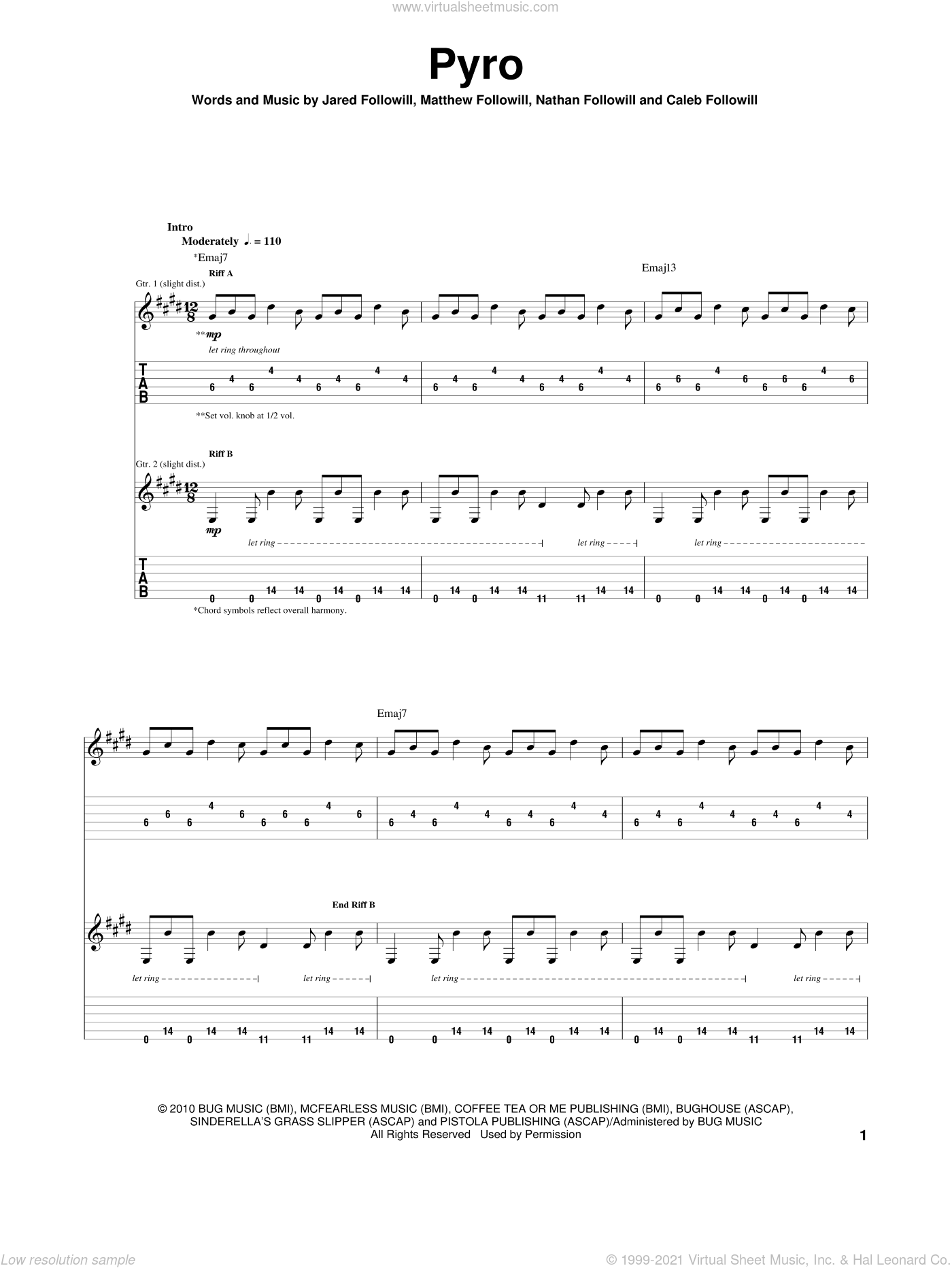 Pyro sheet music for guitar (tablature) by Nathan Followill, Kings Of Leon, Caleb Followill and Matthew Followill. Score Image Preview.