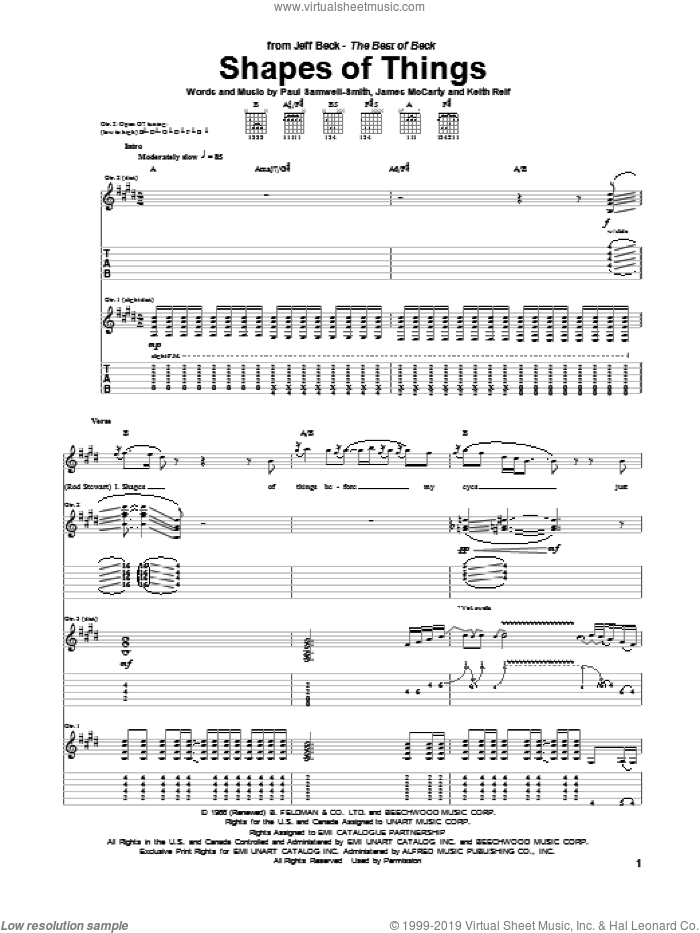Shapes Of Things sheet music for guitar (tablature) by Paul Samwell-Smith, Jeff Beck, James McCarty and Keith Relf. Score Image Preview.