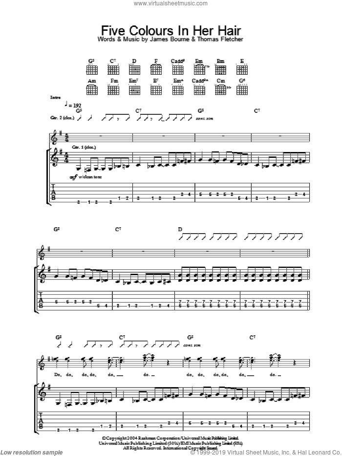 Five Colours In Her Hair sheet music for guitar (tablature) by McFly, Danny Jones, James Bourne and Thomas Fletcher, intermediate