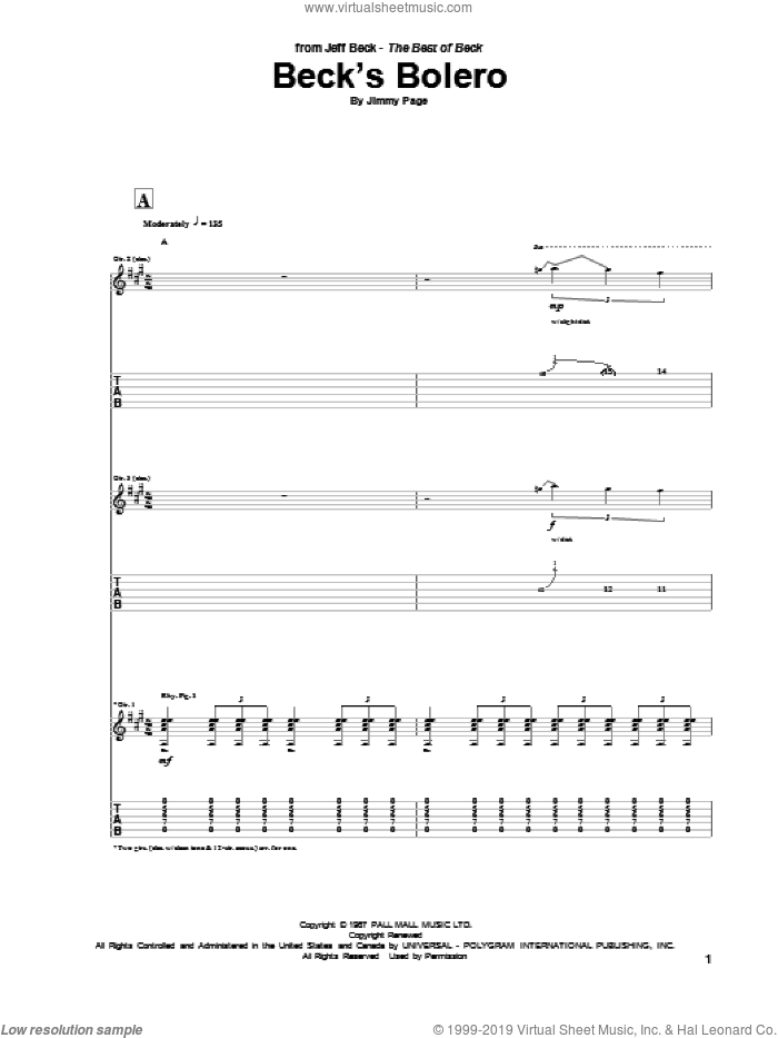 Beck's Bolero sheet music for guitar (tablature) by Jeff Beck and Jimmy Page, intermediate. Score Image Preview.