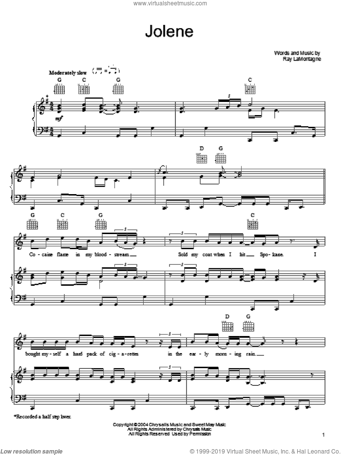 Jolene sheet music for voice, piano or guitar by Zac Brown Band and Ray LaMontagne, intermediate skill level