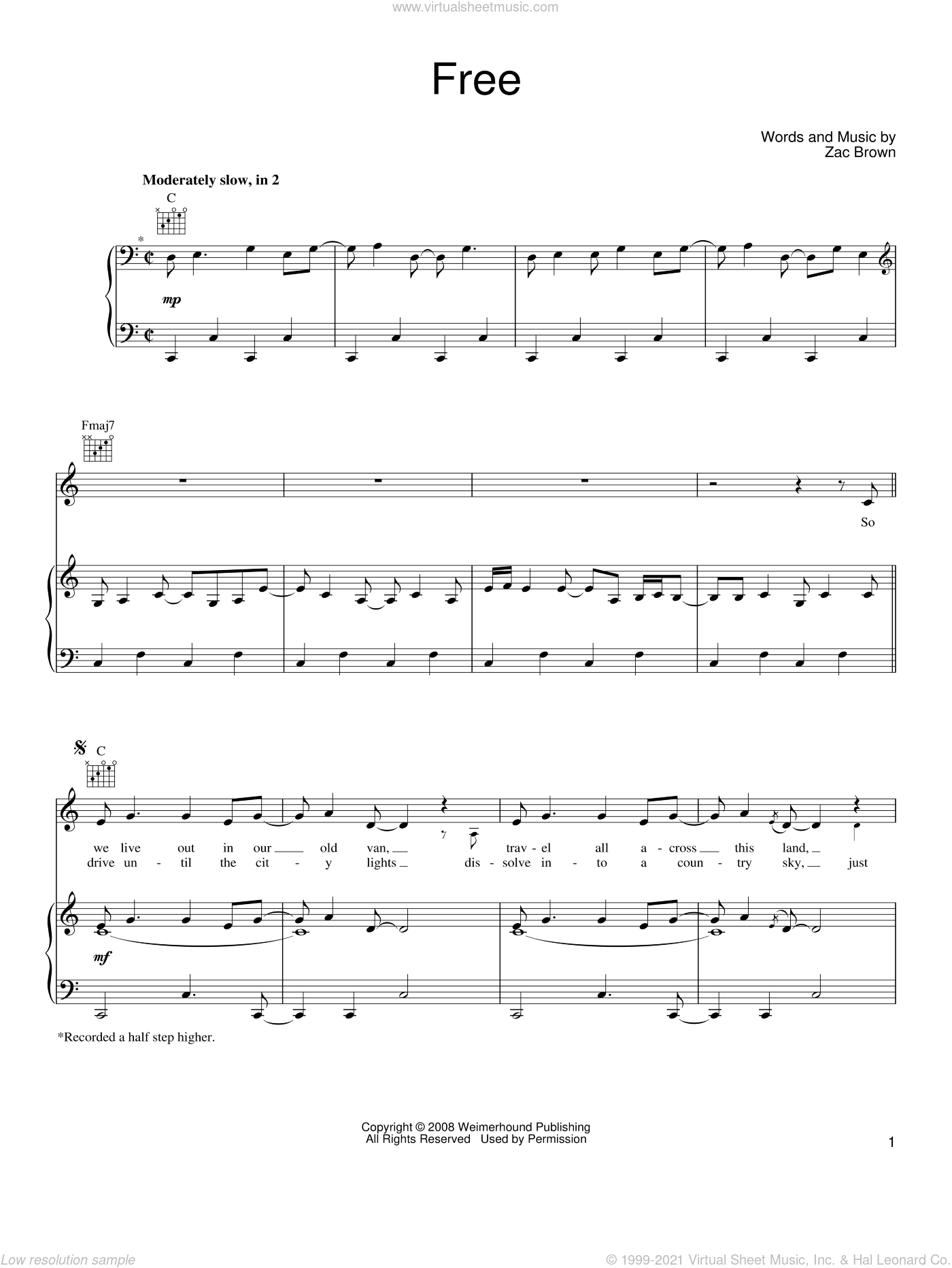 Free sheet music for voice, piano or guitar by Zac Brown