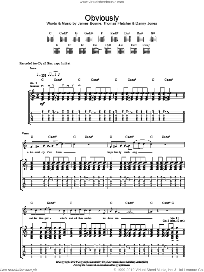 Obviously sheet music for guitar (tablature) by Thomas Fletcher