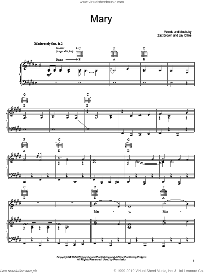 Mary sheet music for voice, piano or guitar by Zac Brown Band. Score Image Preview.