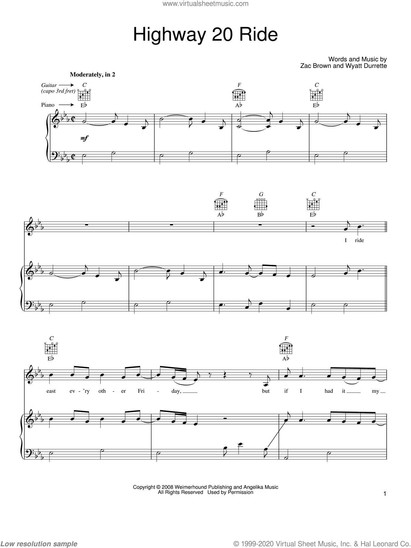 Highway 20 Ride sheet music for voice, piano or guitar by Zac Brown Band, Wyatt Durrette and Zac Brown, intermediate skill level