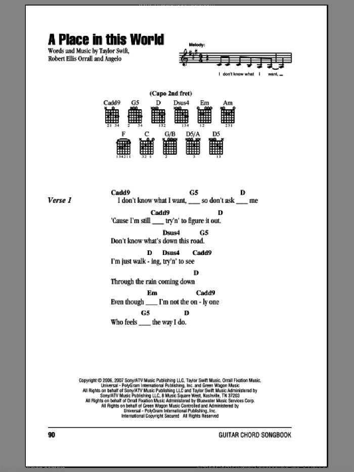 A Place In This World sheet music for guitar (chords) by Robert Ellis Orrall