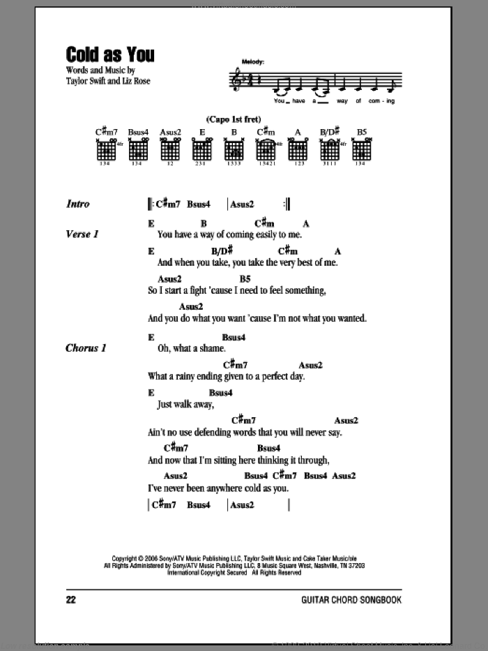 Cold As You sheet music for guitar (chords) by Liz Rose and Taylor Swift. Score Image Preview.