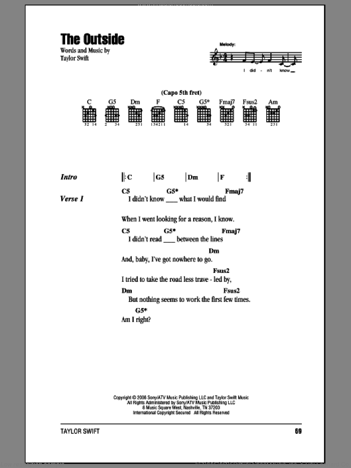 The Outside sheet music for guitar (chords) by Taylor Swift. Score Image Preview.