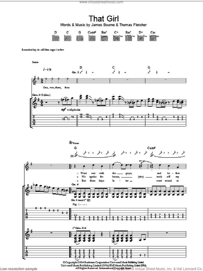 That Girl sheet music for guitar (tablature) by McFly, James Bourne and Thomas Fletcher, intermediate