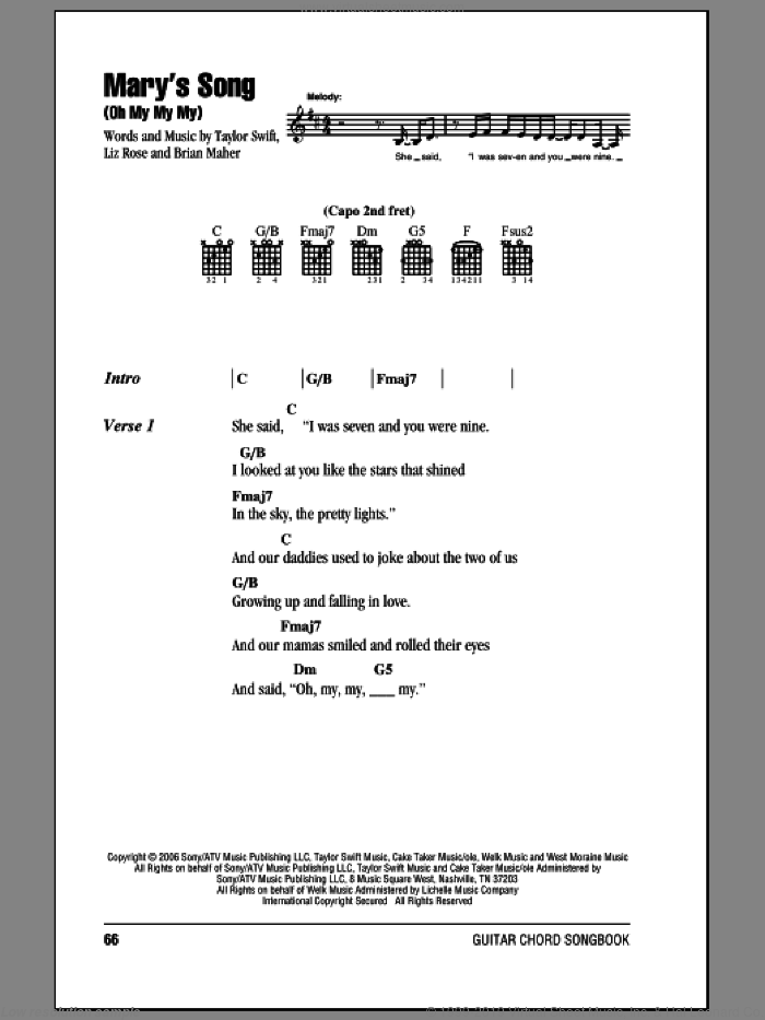 Mary's Song (Oh My My My) sheet music for guitar (chords) by Taylor Swift, Brian Maher and Liz Rose, intermediate skill level