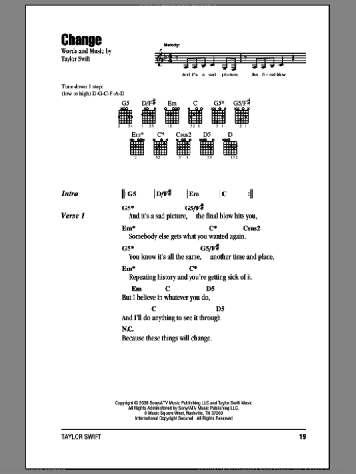 Change sheet music for guitar (chords) by Taylor Swift. Score Image Preview.