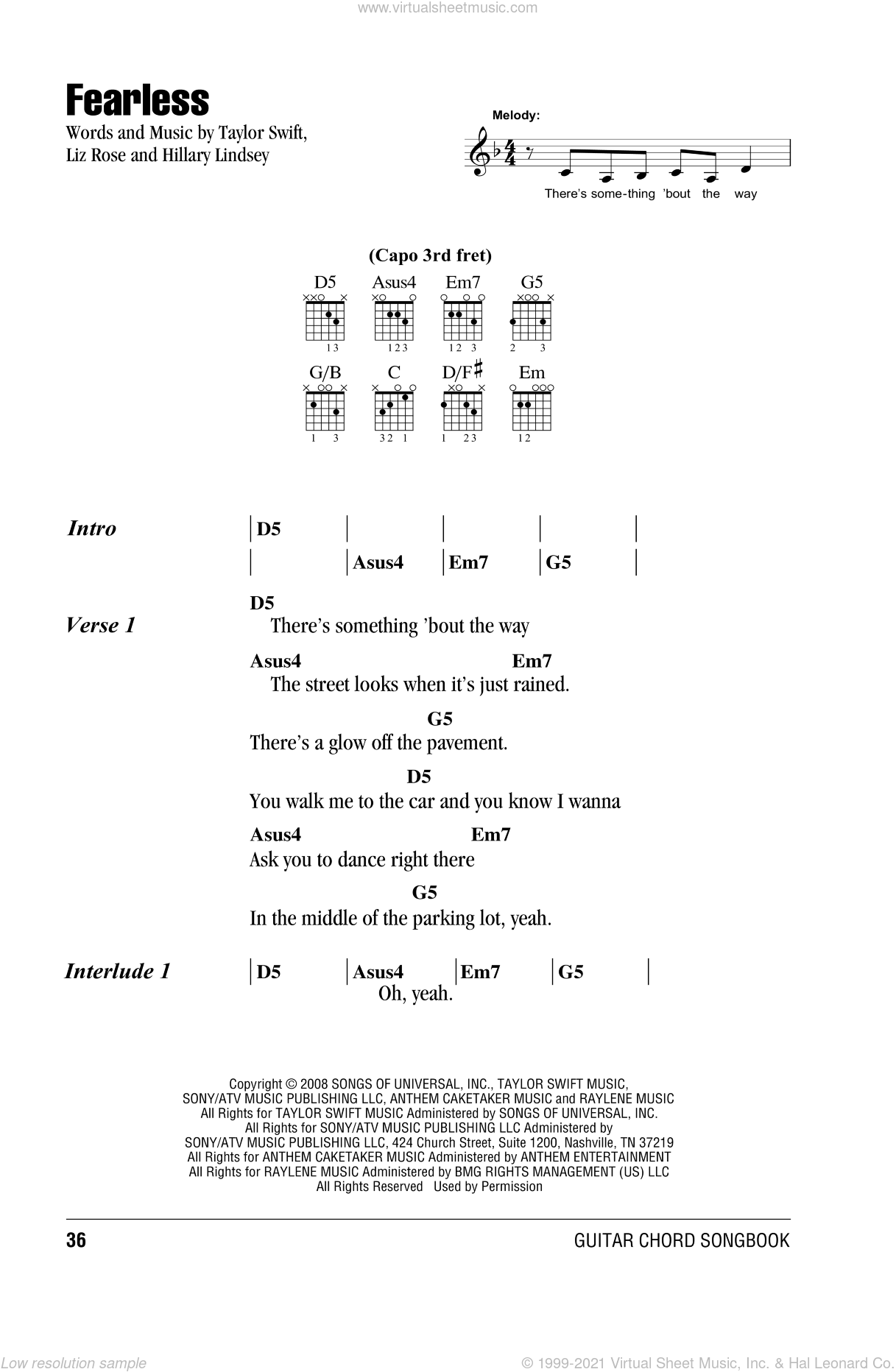 Fearless sheet music for guitar (chords) by Liz Rose
