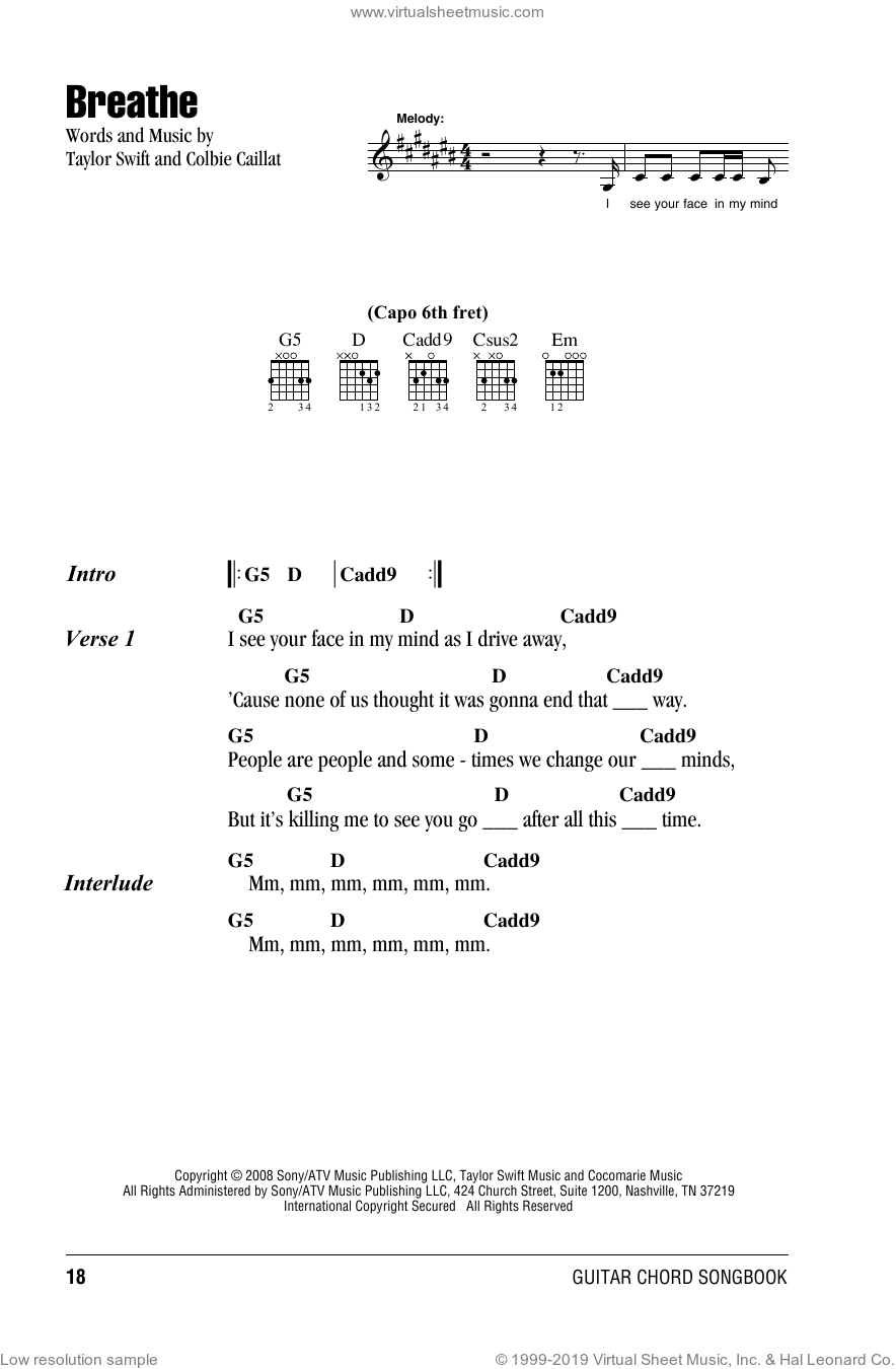Breathe sheet music for guitar (chords) by Taylor Swift and Colbie Caillat, intermediate guitar (chords). Score Image Preview.