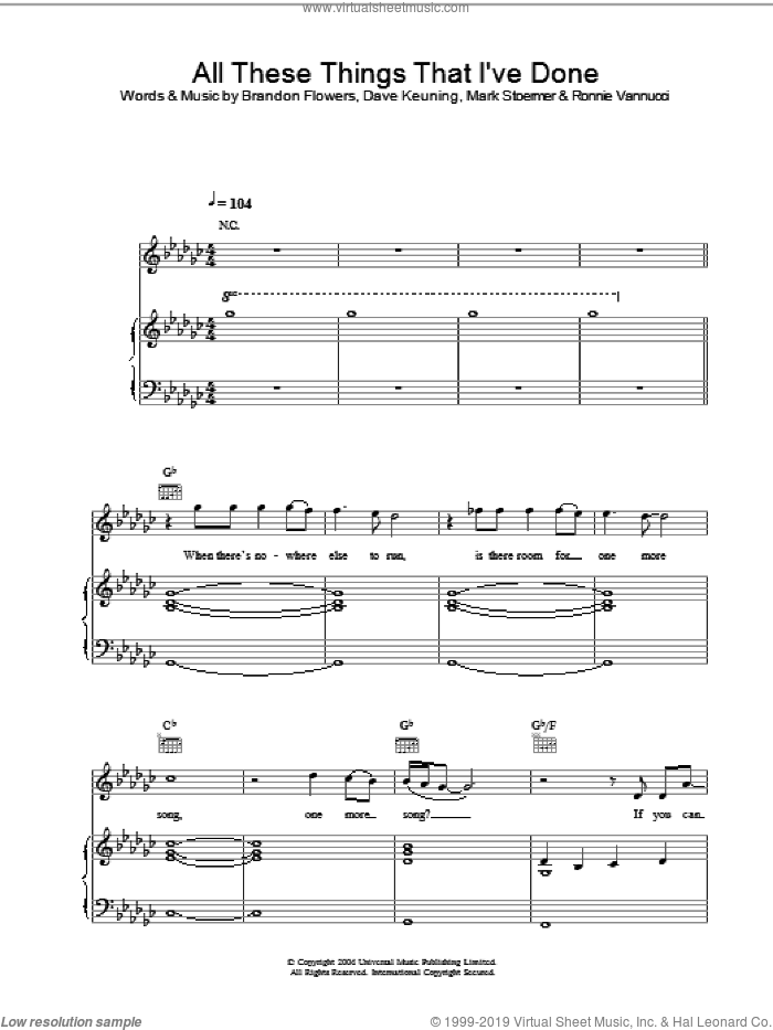 All These Things That I've Done sheet music for voice, piano or guitar by Mark Stoermer, The Killers, Brandon Flowers and Dave Keuning. Score Image Preview.