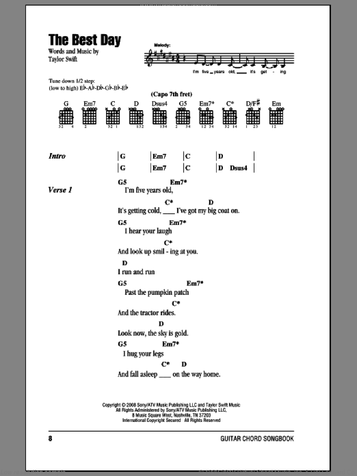 The Best Day sheet music for guitar (chords) by Taylor Swift, intermediate guitar (chords). Score Image Preview.