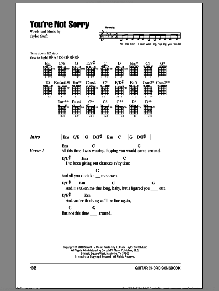 You're Not Sorry sheet music for guitar (chords) by Taylor Swift. Score Image Preview.