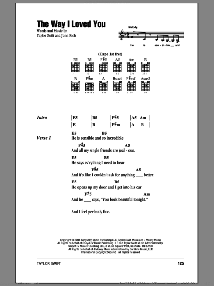 The Way I Loved You sheet music for guitar (chords) by John Rich and Taylor Swift. Score Image Preview.