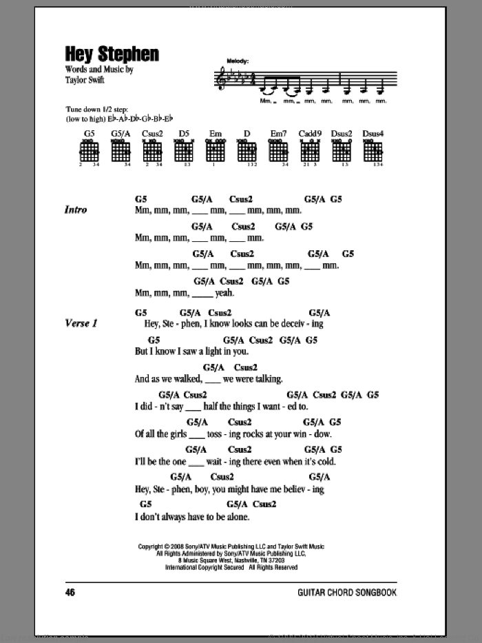 Hey Stephen sheet music for guitar (chords) by Taylor Swift, intermediate. Score Image Preview.