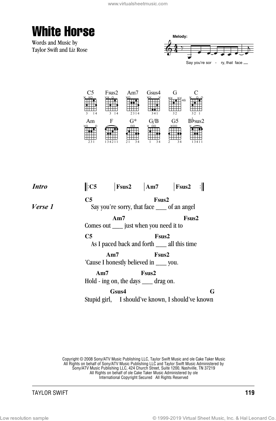 White Horse sheet music for guitar (chords) by Taylor Swift and Liz Rose, intermediate. Score Image Preview.