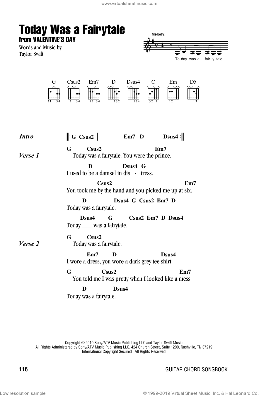 Today Was A Fairytale sheet music for guitar (chords) by Taylor Swift. Score Image Preview.