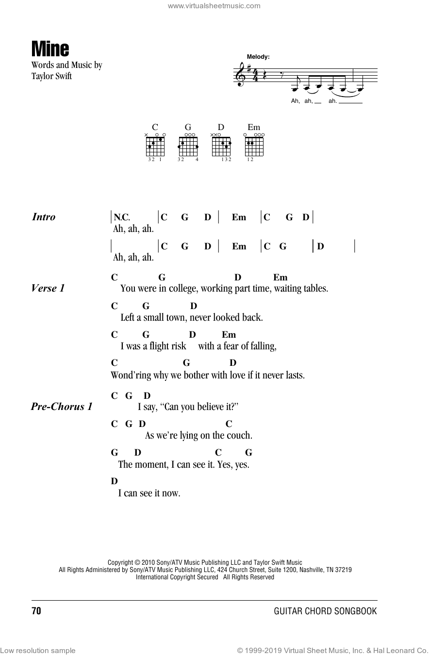 Mine sheet music for guitar (chords) by Taylor Swift, intermediate skill level