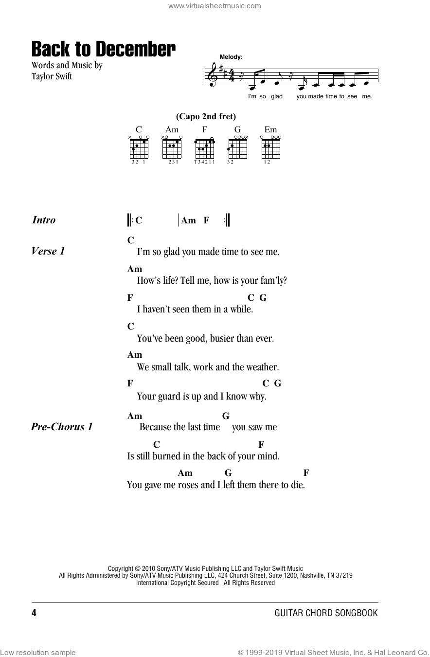 Back To December sheet music for guitar (chords) by Taylor Swift, intermediate skill level