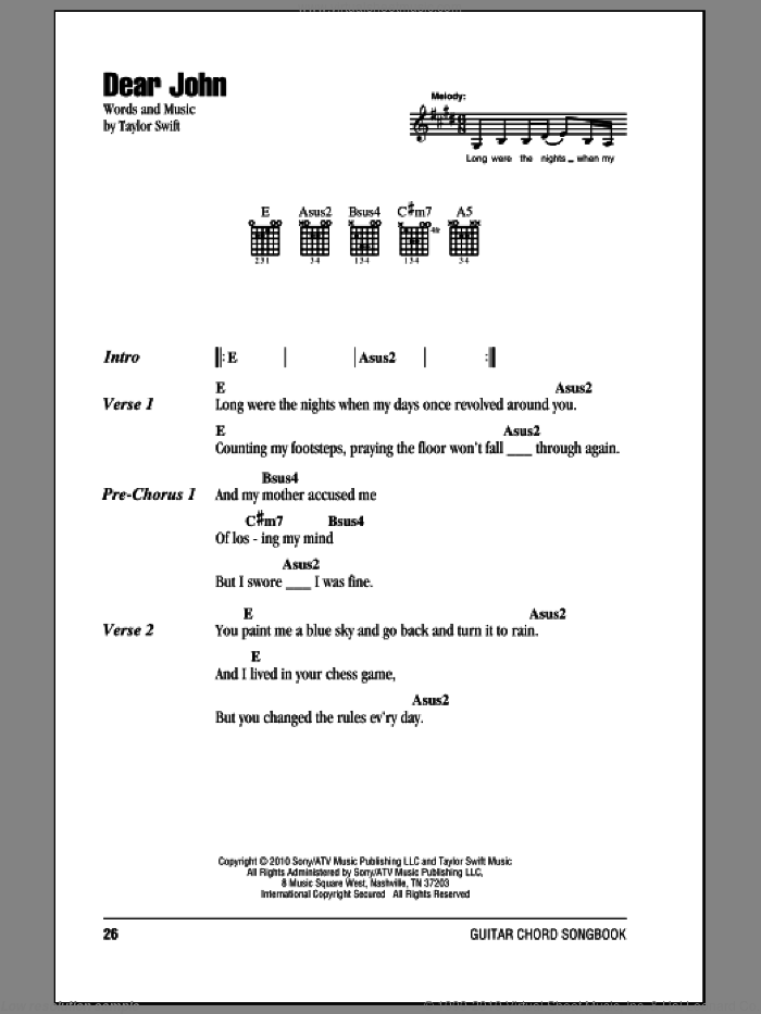 Dear John sheet music for guitar (chords) by Taylor Swift, intermediate. Score Image Preview.
