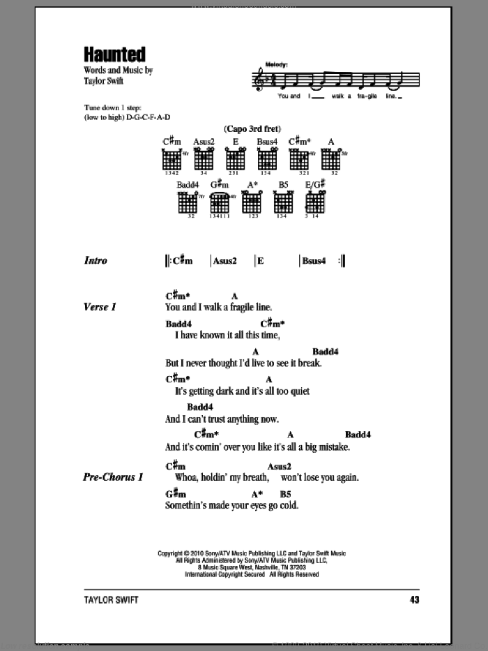 Haunted sheet music for guitar (chords) by Taylor Swift, intermediate skill level