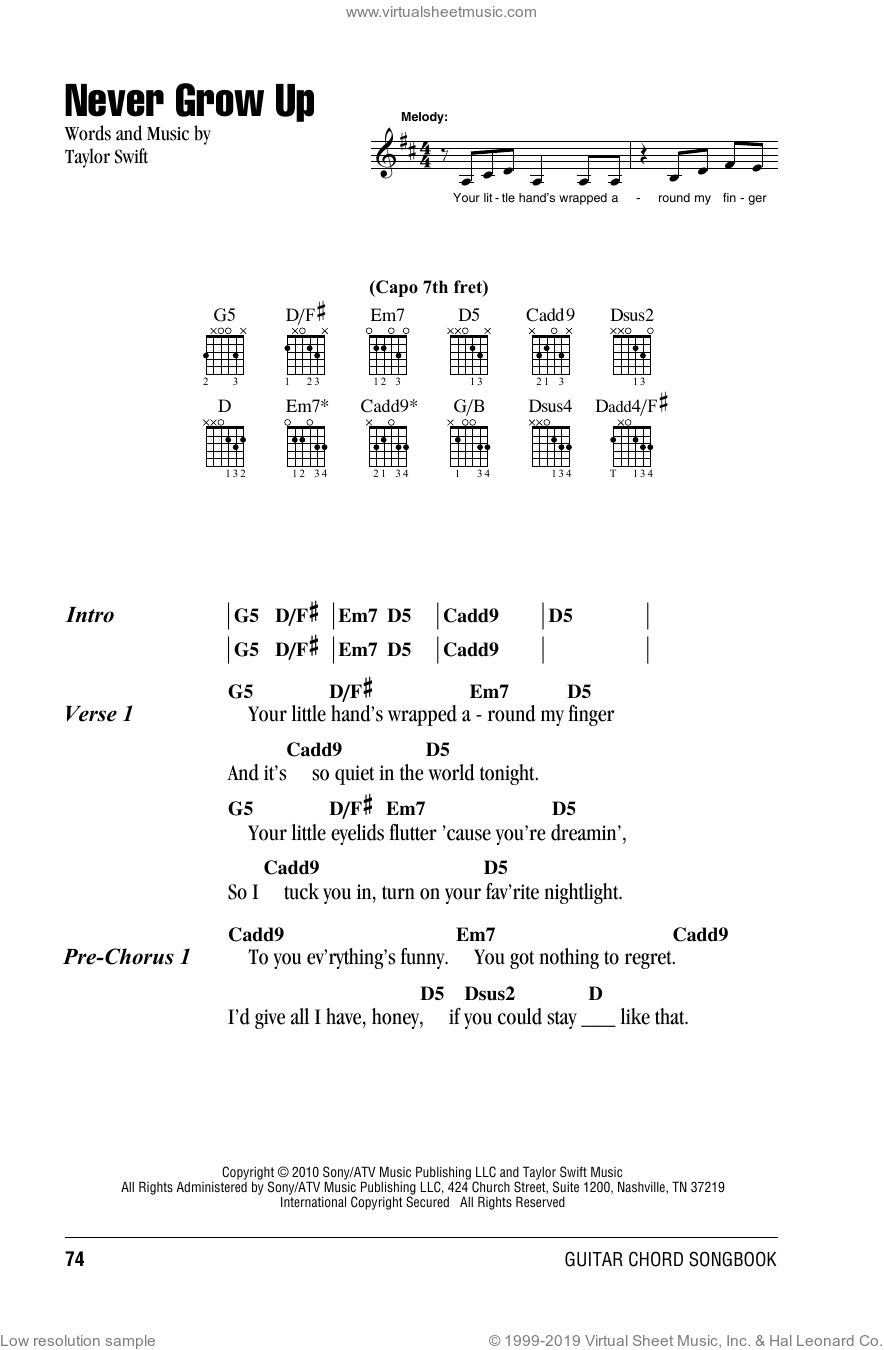 Swift - Never Grow Up sheet music for guitar (chords) [PDF]