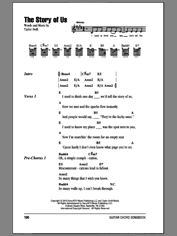 The Story Of Us sheet music for guitar (chords) by Taylor Swift. Score Image Preview.