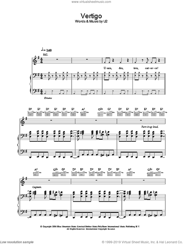 Vertigo sheet music for voice, piano or guitar by U2, intermediate skill level