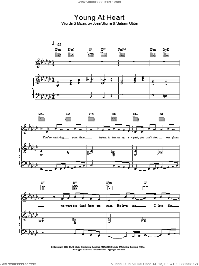 Young At Heart sheet music for voice, piano or guitar by Joss Stone. Score Image Preview.