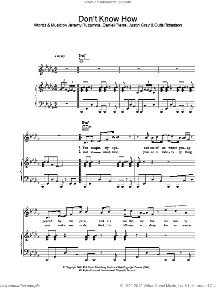 Don't Know How sheet music for voice, piano or guitar by Justin Gray, Joss Stone, Daniel Pierre and Jeremy Ruzumna. Score Image Preview.