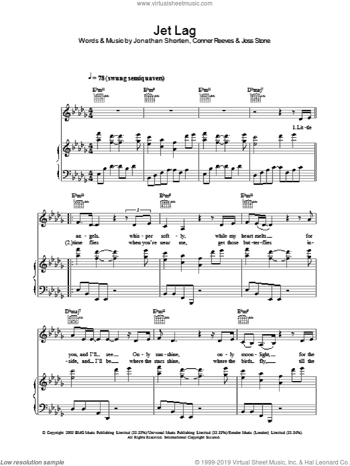 Jet Lag sheet music for voice, piano or guitar by Joss Stone, Conner Reeves and Jonathan Shorten, intermediate skill level