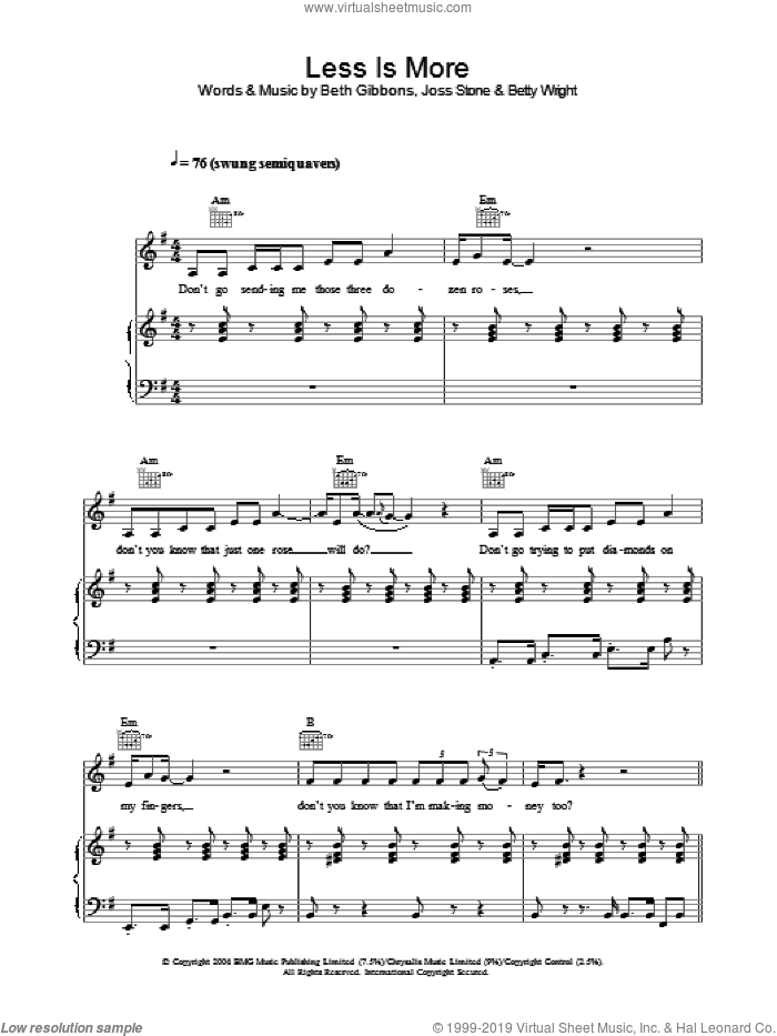 Less Is More sheet music for voice, piano or guitar by Betty Wright