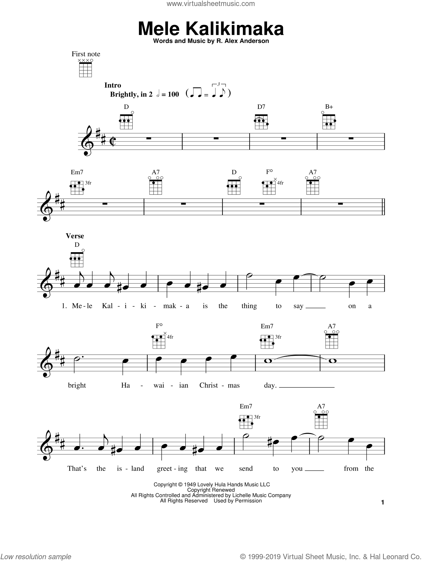 Mele Kalikimaka sheet music for ukulele by Bing Crosby and R. Alex Anderson, intermediate skill level
