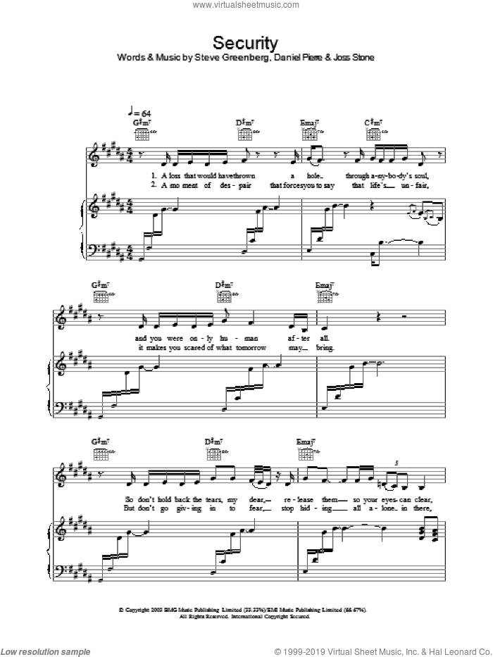 Security sheet music for voice, piano or guitar by Joss Stone, Daniel Pierre and Steven Greenberg, intermediate. Score Image Preview.