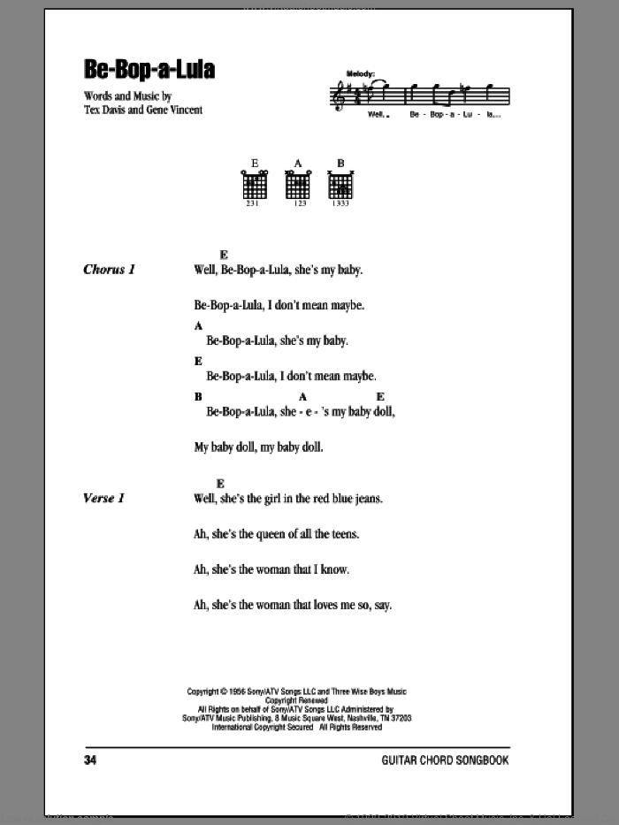 Be-Bop-A-Lula sheet music for guitar (chords, lyrics, melody) by Tex Davis
