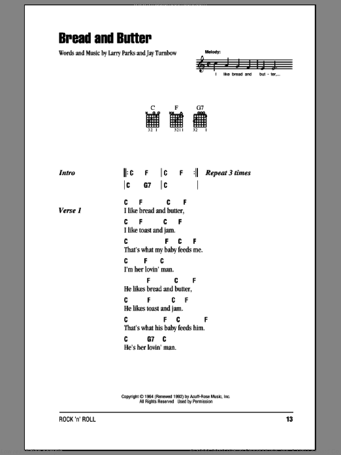 Bread And Butter sheet music for guitar (chords) by Newbeats, intermediate guitar (chords). Score Image Preview.