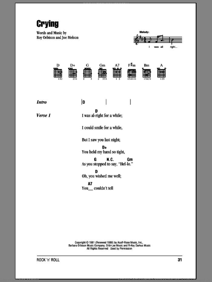 Crying sheet music for guitar (chords) by Roy Orbison and Don McLean, intermediate guitar (chords). Score Image Preview.