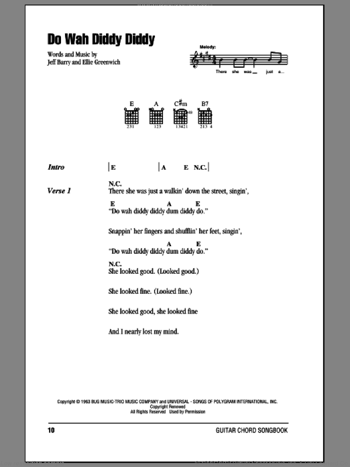 Do Wah Diddy Diddy sheet music for guitar (chords) by Manfred Mann, Ellie Greenwich and Jeff Barry, intermediate. Score Image Preview.